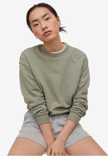 H&M green Embroidered Sweatshirt 602C7AAC0964EDGS_1