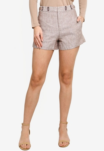 Hopeshow beige Loose Cuff Striped Linen Shorts 98219AA12257C0GS_1