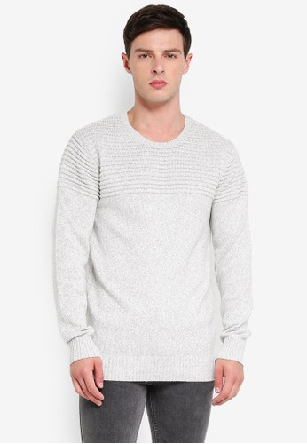 Indicode Jeans white Thibault Ribbed Knitted Sweater 36EA7AA7CB553BGS_1