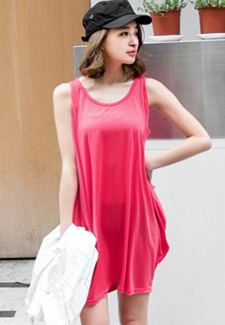 [IMPORTED] Lively Bright Long Loose Tee - RED