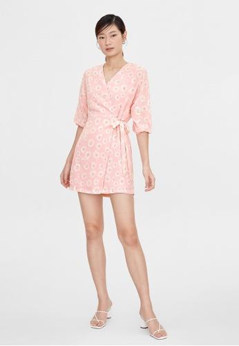 Pomelo pink Daisy Print Wrap Dress - Pink 10321AA6949672GS_1