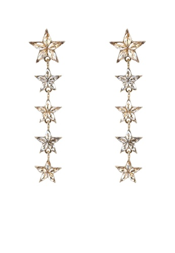 Red's Revenge gold Star Studded Gemstone Statement Earrings B1117AC08EB234GS_1