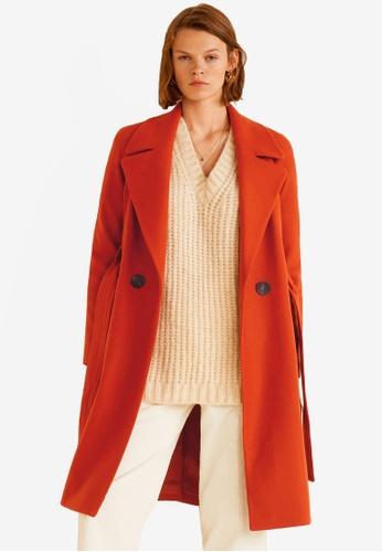 Mango orange Buttoned Wool Coat 3FD49AAE5D2786GS_1