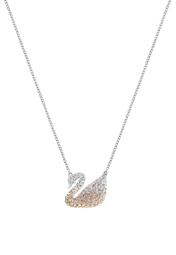 Swarovski Women's Rhodium Plating Iconic Swan Crystals Pendant, Black