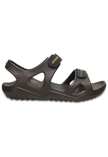 Crocs brown Men's Swiftwater River Sandals Esp/Blk CR883SH0RCDTMY_1