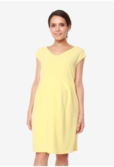 e5a907c1473 Bove by Spring Maternity yellow Erica Pleated V Neck Dress  19FF1AAFA9A66EGS_1