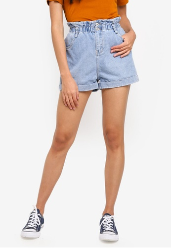 Factorie blue Denim Paperbag Shorts 12C22AA41A11B6GS_1