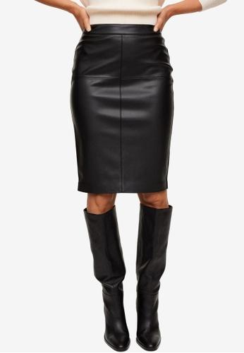 Mango black Faux-Leather Pencil Skirt AC467AACCAB542GS_1