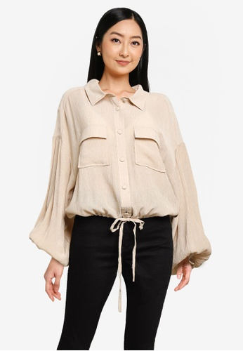 Heather brown Texture Drawstring Shirt 818D6AA84DCC60GS_1