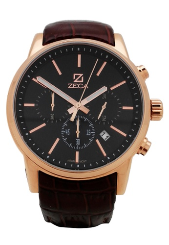 ZECA pink and silver and gold Zeca Watches Man Fashion Leather Analog - 225M Brown Rosegold ZE260AC26SJHSG_1
