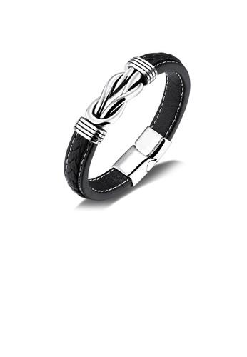 Glamorousky silver Fashion Vintage Geometric 316L Stainless Steel Black Leather Bracelet BA81AAC92ED06BGS_1