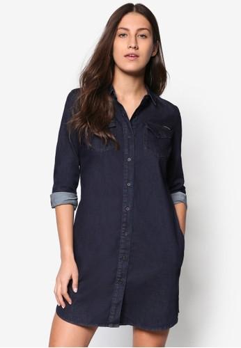 丹寧長袖襯衫連身裙, 服飾esprit outlet 旺角, 洋裝