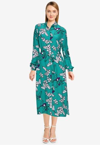 French Connection green Cefara Drape Printed Shirt Dress 3914EAAEBD8700GS_1