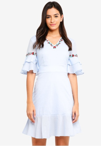 ZALORA blue Embroidered V Neck Ruffle Detail Dress 2A011AAF43D2D2GS_1