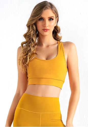 B-Code yellow ZUU3056-Lady Quick Drying Running Fitness Yoga Sports Bra-Yellow 13934AA45D2BCEGS_1