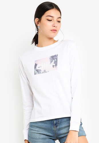 Cotton On white Tbar Tammy Chopped Graphic Long Sleeve Tee 4CBBDAAD124D93GS_1