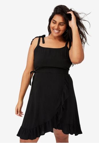 Cotton On black Curve Woven Kaela Mini Dress EE360AAB6F8B4DGS_1