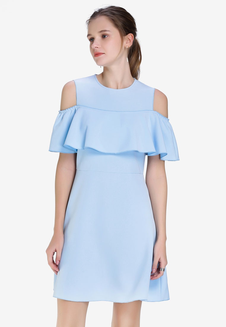 Hopeshow Blue Dress Pale Thigh Shoulder Mid Off nYqwxpIA
