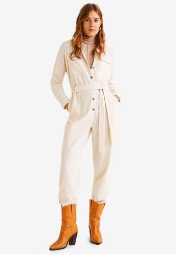 Mango white Cotton Pockets Jumpsuit ADF4EAA5BCBB0DGS_1
