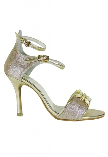 Jacque gold Lush Gold Heels with Crystal Brooch BA062SH614816BGS_1