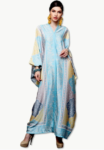 Kanzi by liza yahya brown Kanzi Exclusive Long Sleeve Ethnic Kaftan 6AED6AA458F088GS_1
