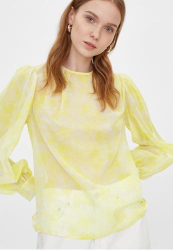 Pomelo yellow Sheer Marble Print Top - Yellow C8CFEAA8A914CDGS_1