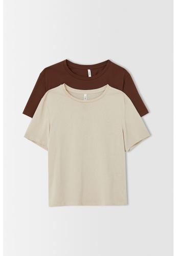 DeFacto beige 2-pack Short Sleeve Cotton T-Shirt 453A1AA8B7D240GS_1