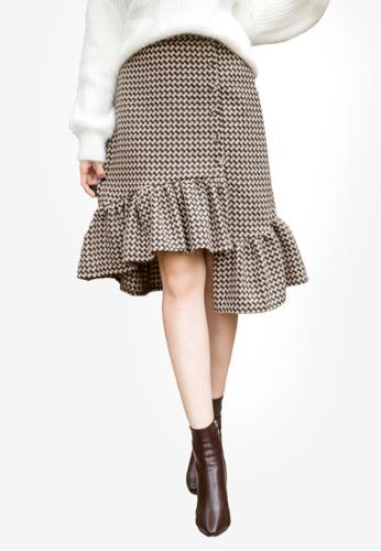 Tokichoi brown Frill Gingham Skirt A7A45AA01B6256GS_1