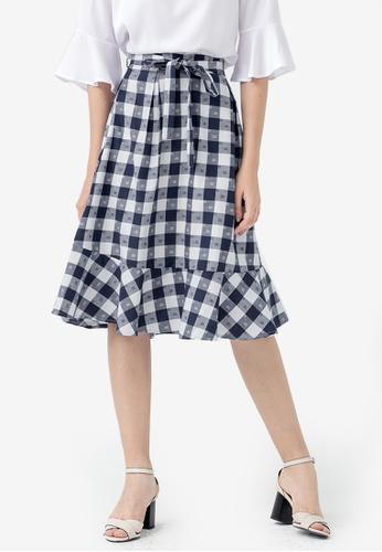 Kodz blue Checkered Fishtail Skirt 17DE2AAC21ACB2GS_1