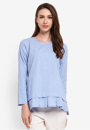Seleksi Akma blue Striped Pleated Top D5F54AA41FA976GS_1