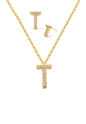 """Atrireal gold ÁTRIREAL - Initial """"T"""" Necklace + Earrings Jewellery Set in Gold 7AF28ACCDB2C08GS_1"""