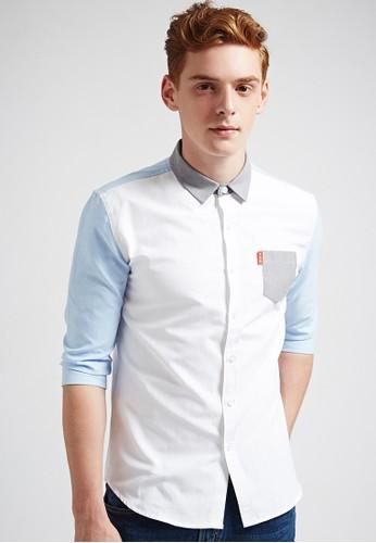 韓系esprit tsim sha tsui簡約。配色剪接。七分袖襯衫-03617-淺藍, 服飾, 素色襯衫