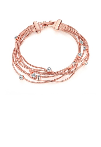 Glamorousky white European and American Fashion Rose Gold Plated Bracelet with Austrian Element Crystal B1233AC10B4F3EGS_1