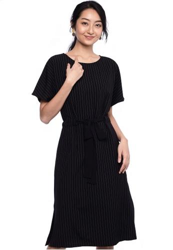 Nichii black Pinstripe Waist Tie Dress A4138AA179E3ECGS_1