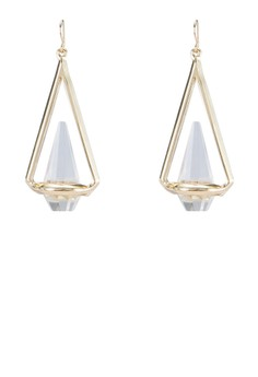 Triangular Gem Drop Earrings