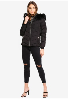 75973ca2fbe78 30% OFF Miss Selfridge Black Hooded Puffer Coat S  156.00 NOW S  108.90  Sizes 4