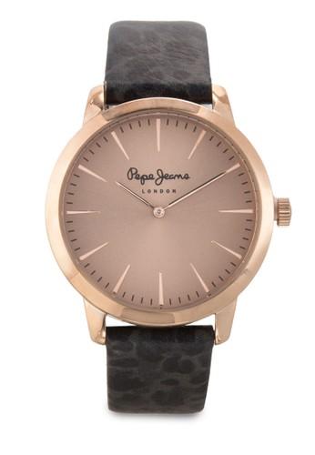 R2351122502 Amyesprit sg 豹紋皮革圓錶, 錶類, 飾品配件