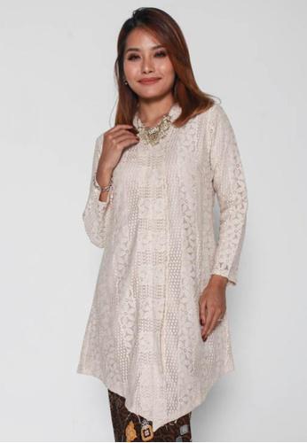 Naphthys Collection white and beige Tsamara Lace Baju Kebaya/Baju Kurung AA39AAADBEC2B4GS_1