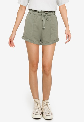 Abercrombie & Fitch green Knit Paperbag Shorts 0BDCCAA02392A3GS_1