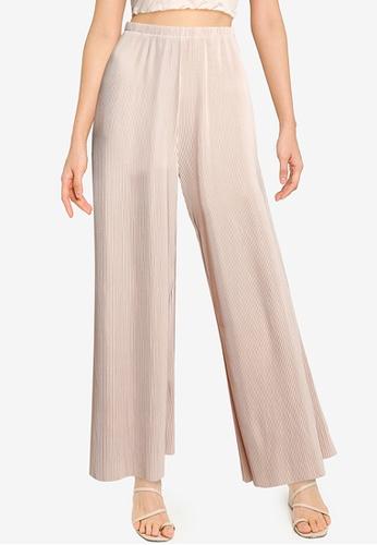 ZALORA BASICS beige Micro Pleats Pants 3D02FAAA9983B5GS_1