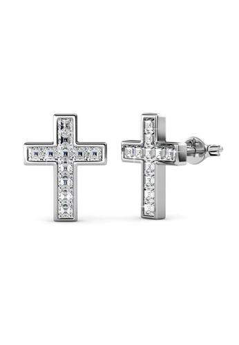 Her Jewellery silver Cross Earrings -  Made with premium grade crystals from Austria HE210AC0G00RSG_1