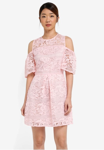 2b37ebad74 Miss Selfridge pink Cny  Cold Shoulder Lace Dress MI665AA0T08WMY 1