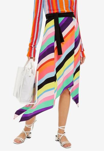 TOPSHOP multi Rainbow Stripe Midi Skirt C8A81AA97CE6DDGS_1