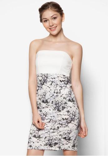 印花拼zalora鞋子評價接平口洋裝, 服飾, 緊身洋裝