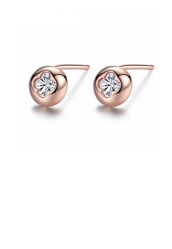 Glamorousky white 925 Sterling Silver Plated Rose Gold Fashion Simple Four-leaf Clover Geometric Round Cubic Zirconia Stud Earrings 628E8AC847BA3AGS_1