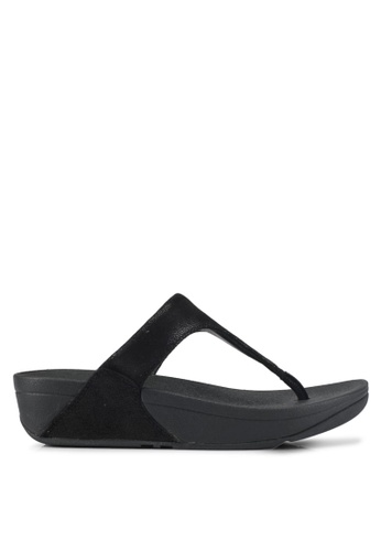 Fitflop black Shimmy Suede Toe-Post Sandals 70A2BSHEEB33E9GS_1