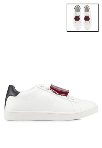 Something Borrowed white Patched On Printed Sneakers E52C9SH5D76375GS_1