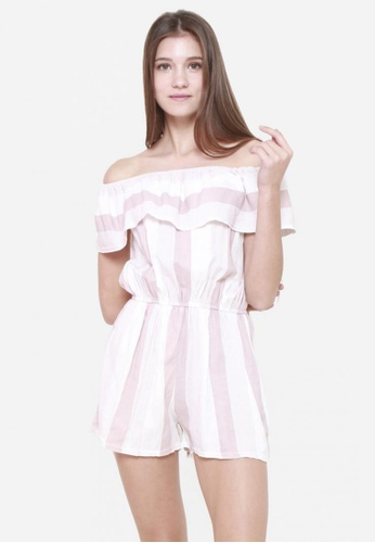 Sophialuv pink Hang em' Off Shoulder Striped Romper in Rose 7F2A6AA5EFC11CGS_1
