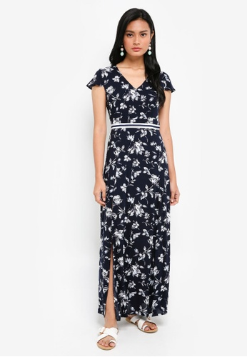 Something Borrowed navy Neckline Detail Maxi Dress 19386AACC4AFBAGS_1