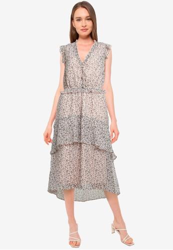 Dorothy Perkins pink Ditsy Print Ruffle Hem Midi Dress E160AAA2C73710GS_1